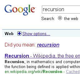 Google Recursion Joke